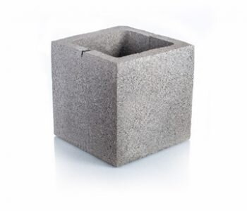 Bloque de cemento mitad visto para muro de 20 cm