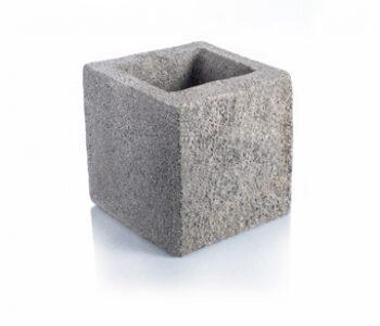 Bloque de cemento simil piedra mitad esquinero para muro de 20 cm de espesor